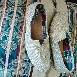 Lite brown Tweed Toms#cleaned#no spots or holes